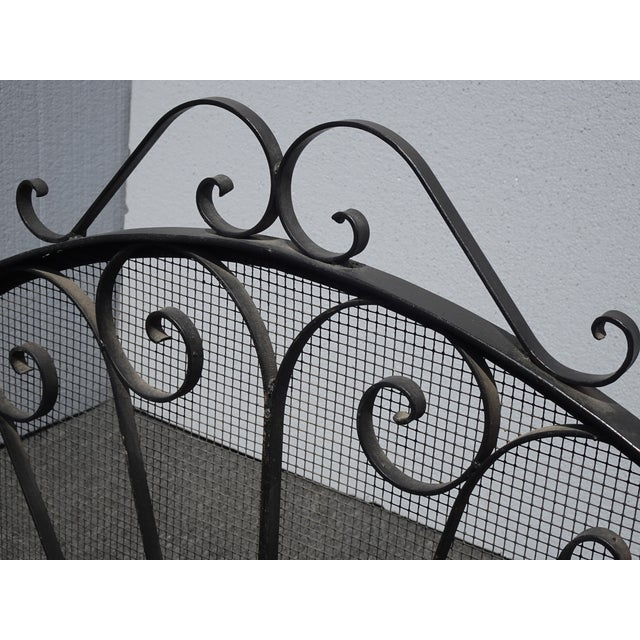 Vintage Spanish Style Black Metal Fireplace Screen W Scrolls For Sale - Image 12 of 13