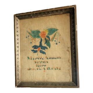 19th Century School Girl Americana Folk Art Theorem of Myrtle Annetta Sites For Sale