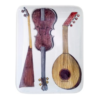 Piero Fornasetti Dish With Musical Stringed Instruments For Sale