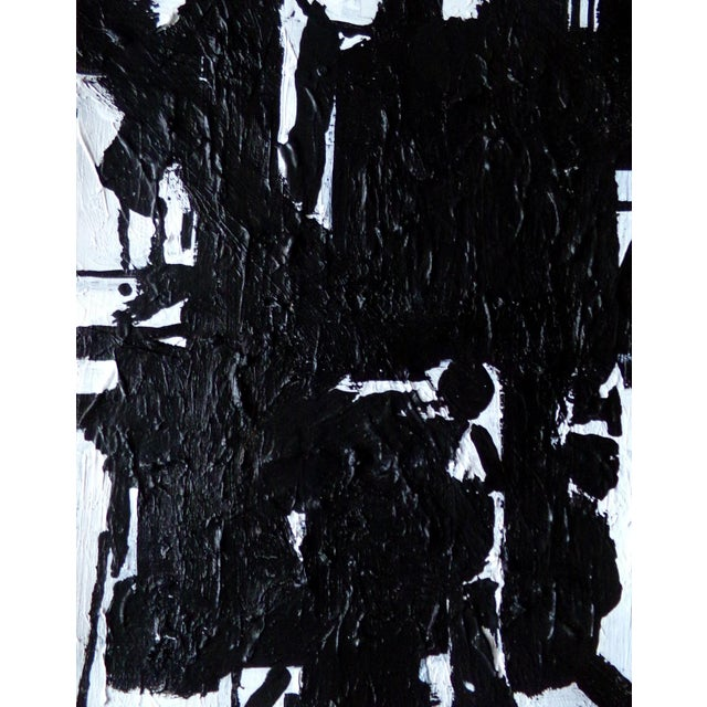 Contemporary Abstract Painting Original Black and White Art by Brian Elston For Sale - Image 3 of 3