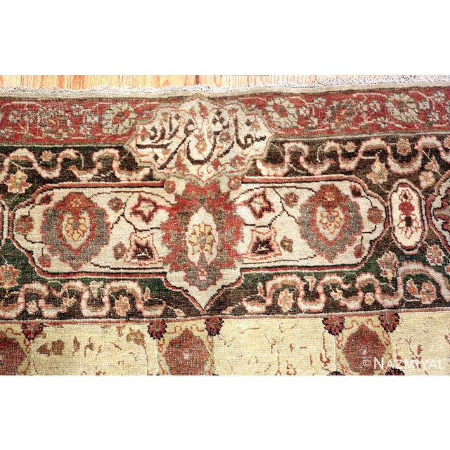 Room Size Antique Persian Tabriz Rust Color Rug - 10′7″ × 14′5″ For Sale - Image 10 of 11