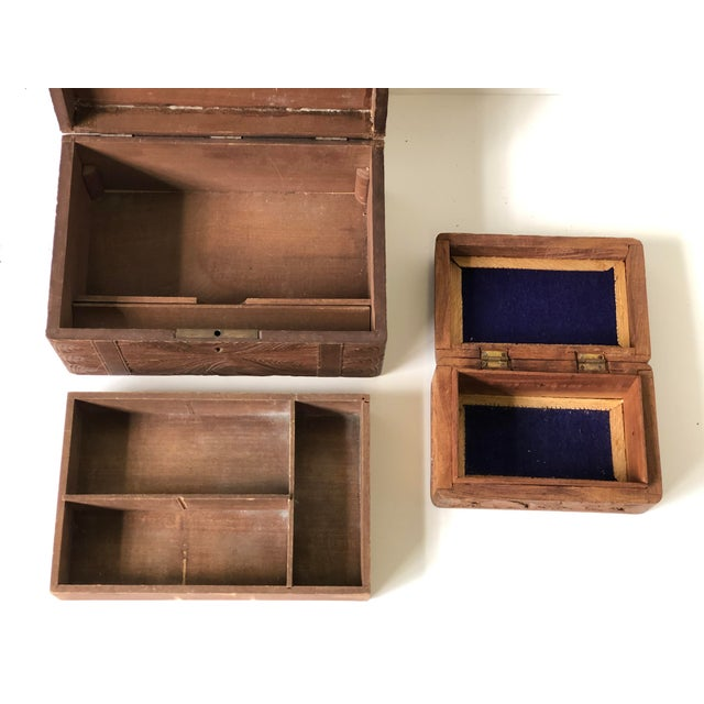English Wooden Carved Boxes, 19th Century - a Pair For Sale - Image 10 of 13