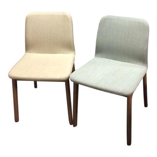 Geiger Upholstered Cerused Oak Side Chairs - A Pair
