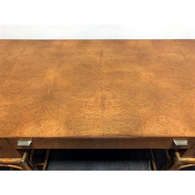 Vintage Refurbished Henredon Bamboo Rattan Double Pedestal Desk For Sale - Image 9 of 13