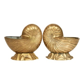 Vintage Coastal Brass Nautilus Shell Cachepot Bookends - a Pair For Sale