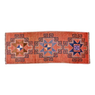 "1940s Boho Chic Red and Orange Wool Kurdish Runner - 3'3""x8'6"""