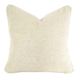 Holly Hunt Dalai Lama Himalayas Cream Chenille Pillow Cover For Sale
