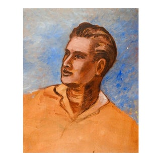 Portrait of Man in Yellow Shirt Oil Painting