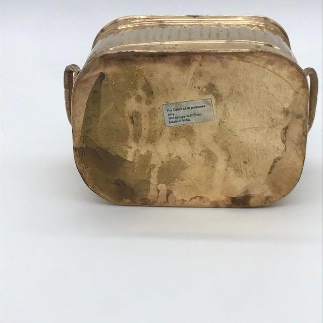 Metal 1970s Vintage Brass Ribbed Rectangular Planter For Sale - Image 7 of 10