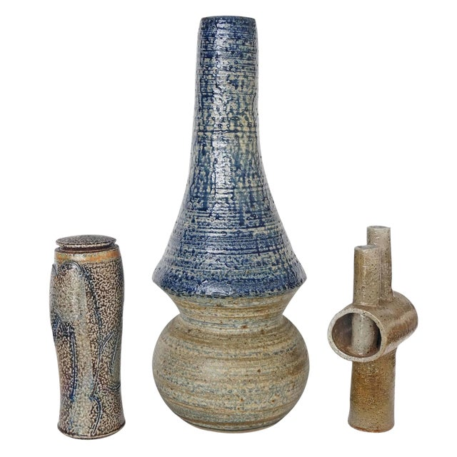 Collection of Three Mid-Century Modern, Studio Art, Stoneware Pieces For Sale