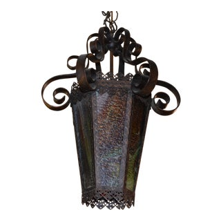 Antique French Victorian Lantern Style Pendant Chandelier For Sale