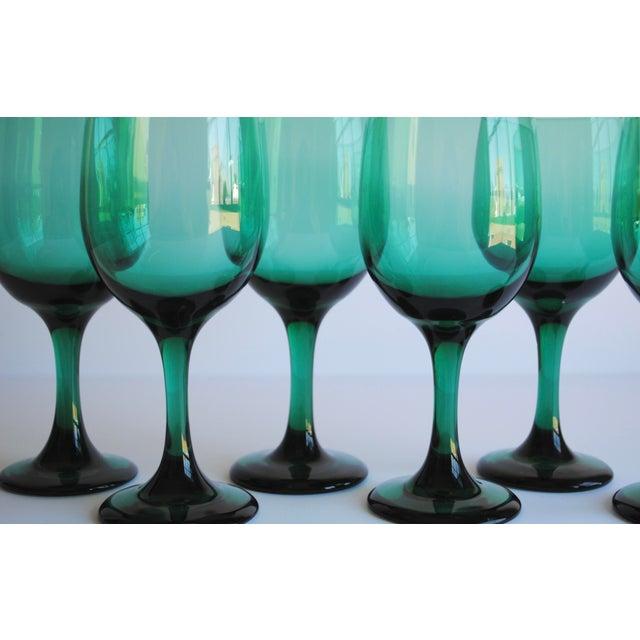 Dark Green Wine Glasses, Set of 6 For Sale - Image 4 of 4