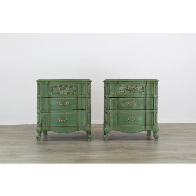 Pair of French Provincial Nightstands, Mid Century Nightstands, Green Nightstand, Shabby Chic Nightstands For Sale - Image 11 of 11
