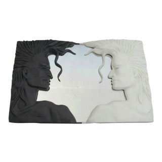 Modern Mirror Black and White Fiberglass, 1980s For Sale