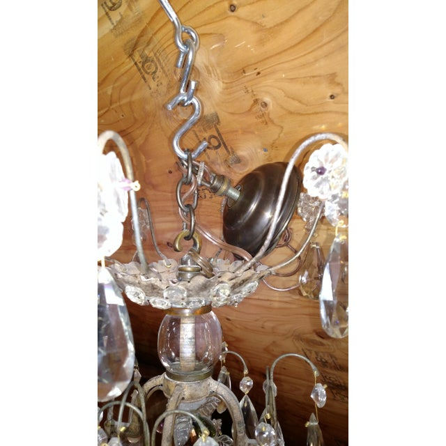 Transparent 1840s Antique Iron Baguès French Cut Glass Dangles Chandelier For Sale - Image 8 of 13