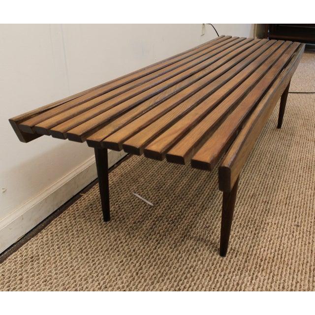 Mid-Century Danish Modern Walnut Slat Bench Coffee Table - Image 4 of 10