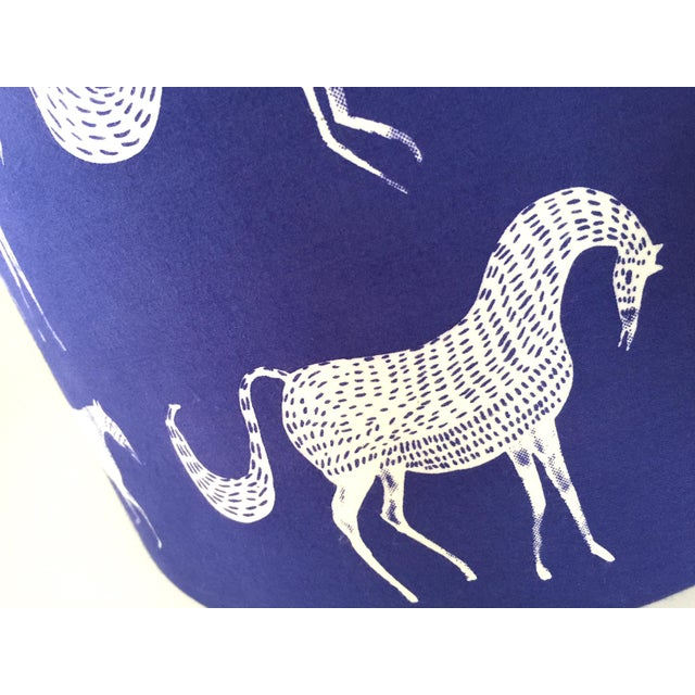 Contemporary Vintage Blue Scalamandre Style Drum Lampshades With Lascaux Horse Design - a Pair For Sale - Image 3 of 12