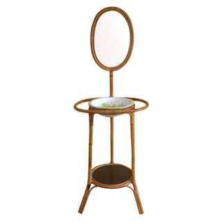 Vintage Bamboo Vanity With Mirror For Sale