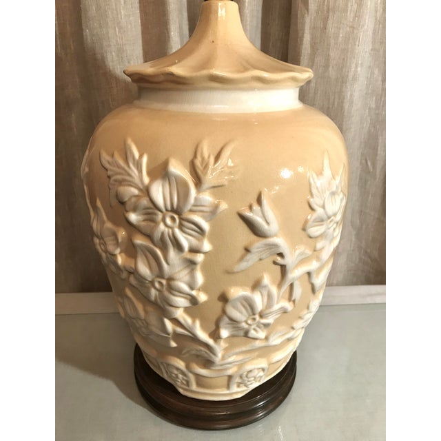 Exquisite Vintage Chinoiserie Buttercream Yellow Table Lamp With White Raised Floral Relief. This beautiful Oval shaped...