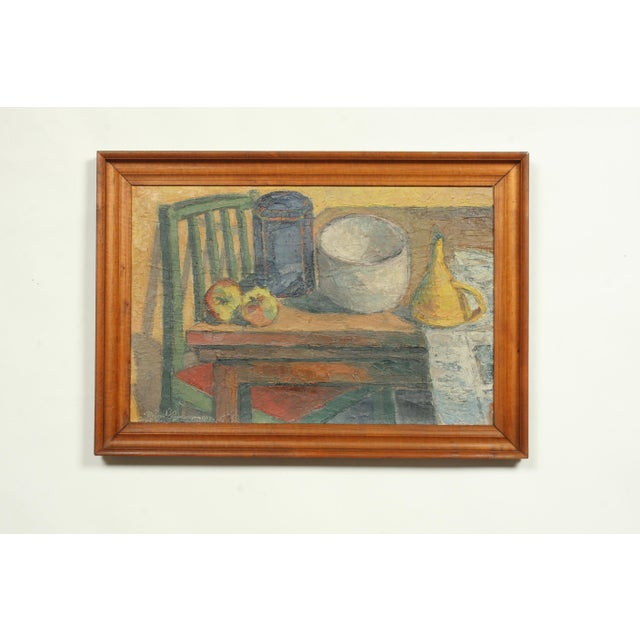 Canvas 1945 Impressionist Still Life Oil Painting by Meinert Heerwagen For Sale - Image 7 of 7