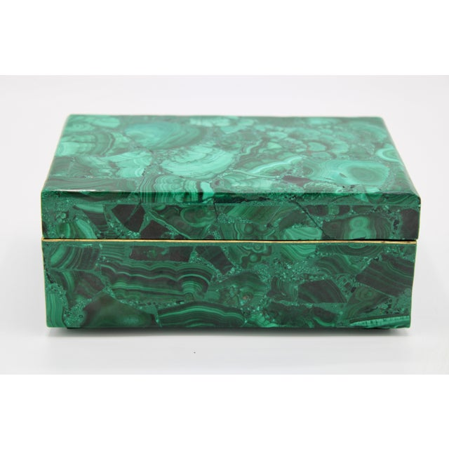 "A stunning genuine malachite box, made by village artists in Zambia. Excellent Condition 6.25"" Length x 4"" Width x 2.75"" Tall"