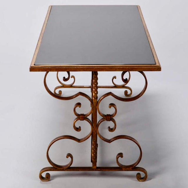 Italian Gilt Iron & Black Glass Cocktail or Coffee Table For Sale In Detroit - Image 6 of 8