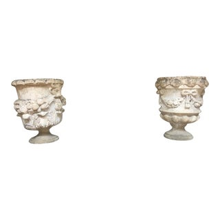 18th Century Hand Carved Cotswold Stone Planters - a Pair