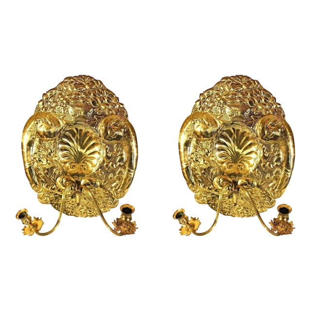 Mottahedeh Double Baroque Repousse Brass Wall Sconces - A Pair For Sale