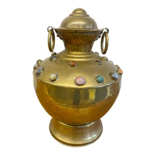 Large Ornate Brass Swivel Urn With Decorative Polished Stones For Sale