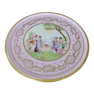 "Antique Royal Vienna Porcelain Signed Hand Painted Portrait Cake Stand Huge 15"" For Sale"