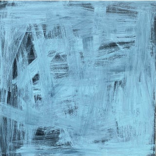 """""""Expressive: Contrast in Blues"""" Contemporary Abstract Painting by Sarah Trundle For Sale"""