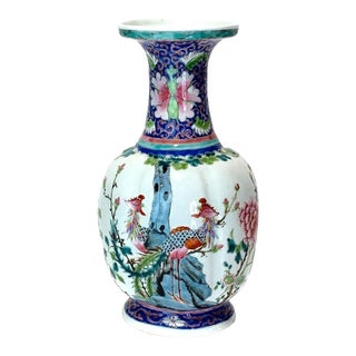1920's Chinese Nyonya Straits Export Peranakan Lobed Blue and White Porcelain Vase With Pheonix For Sale