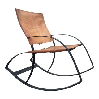 Late 20th Century Modernist Leather Rocking Chair For Sale