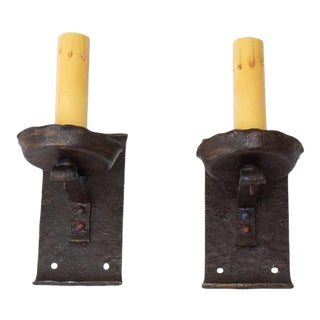 Early 20th Century Arts and Crafts Cast Iron Sconces - a pair For Sale