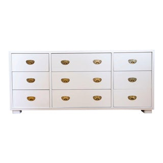 Vintage White Lacquer Campaign Dresser by Drexel. For Sale