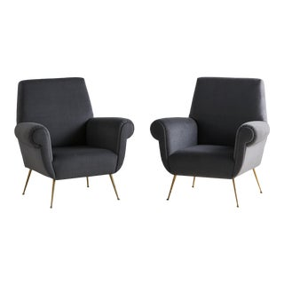 Pair of Gigi Radice Lounge Chairs in Charcoal Gray Mohair For Sale