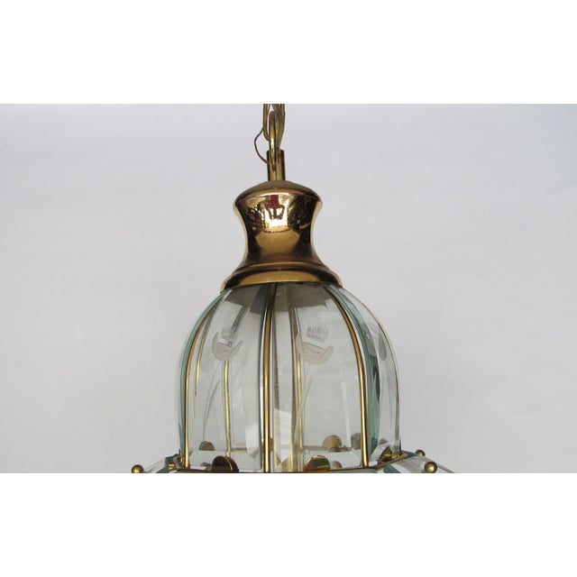 1970s Brass and Etched Glass Chandelier - Image 4 of 5