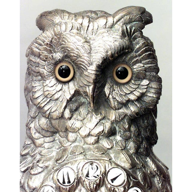 English Victorian Silver-Plated Owl Design Clock and Pair of Candelabra For Sale - Image 9 of 10