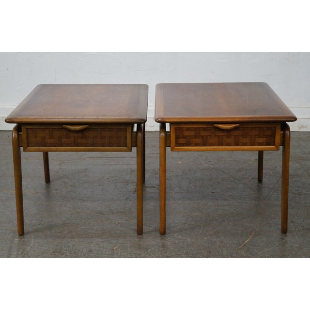 """Lane """"Perspective"""" Walnut End Tables - A Pair - Image 2 of 10"""