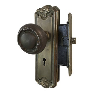 Antique Early 20th Century Filigree Mortise Lock With Door Knobs For Sale