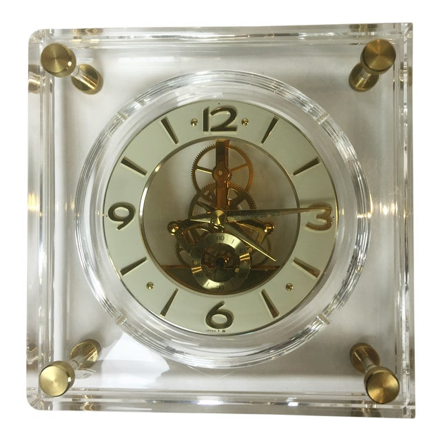 Late 20th Century Vintage Square Shape Lucite Clock For Sale