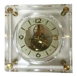 Late 20th Century Vintage Square Shape Lucite Seiko Clock For Sale