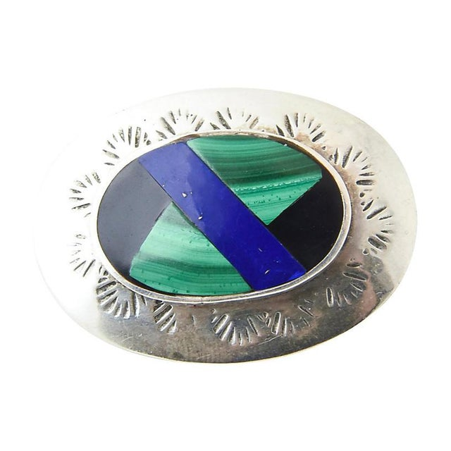 Etching Mexican Lapis, Malachite, Onyx & Sterling Brooch For Sale - Image 7 of 7