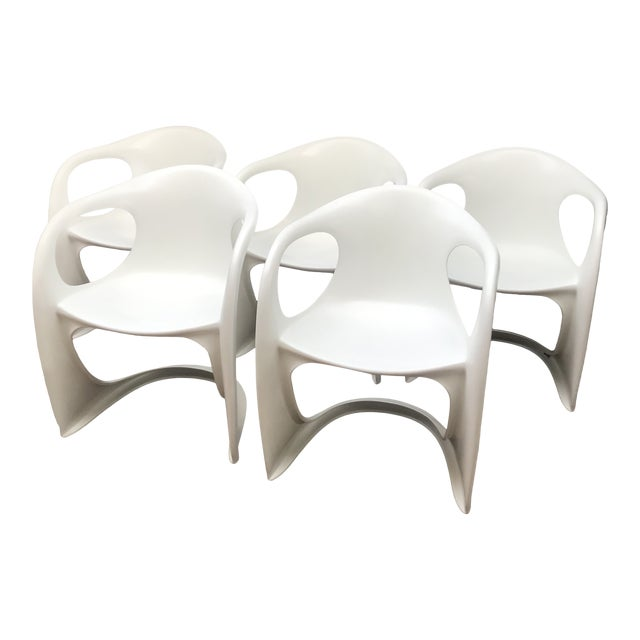 Mid Century Vitra Style Monolith Chairs- 5 Pieces For Sale
