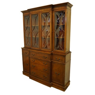 1960s Mahogany Traditional Style Secretary Credenza With Display China Cabinet Hutch Preview