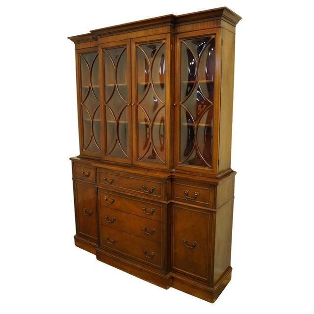 "1960's Mahogany Duncan Phyfe Style Traditional Style 60"" Secretary Credenza w. Display China Cabinet Hutch 304 79.75"" High..."