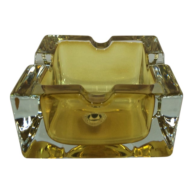 Vintage West German Yellow Art Glass Ashtray - Image 1 of 6