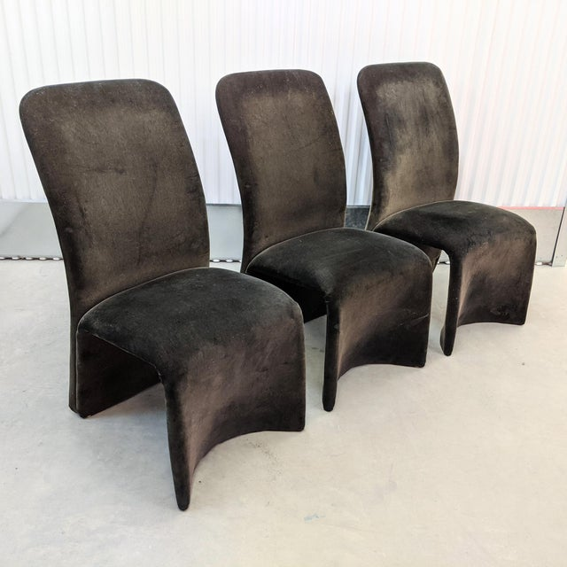 Modernist Sculptural Ribbon Velvet Dining Chairs - Set of 3 For Sale - Image 13 of 13