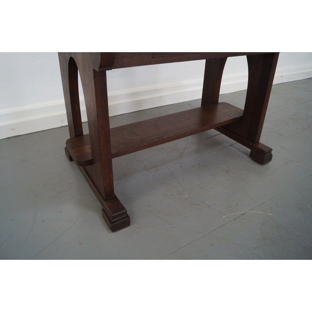 Antique Mission Oak Library Table - Image 8 of 10