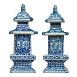 Image of Chinoiserie Blue & White Ceramic Pagoda Jars - a Pair For Sale
